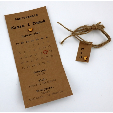 Zaproszenie Kartka z kalendarza